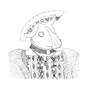 Guinea pig as Henry VII by Sarah Leavitt, after Holbein