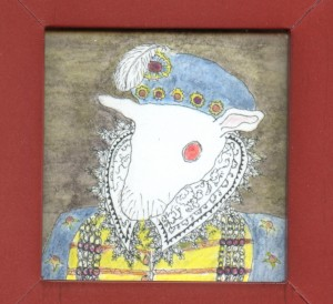 Guinea pig as Sir Christopher Hatton by Sarah Leavitt, coloured and framed